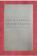 List K.J. Erbena Stanku Vrazovi - ERBEN Karel Jaromír